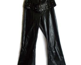 Vintage Faux leather pants, Black leather pants, Vegan leather pants, Pleather pants, Wide leg pants, Retro pants, Rocker pants