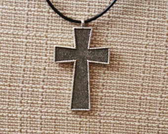 Antique Silver Tone Cross on Black Leather Cord