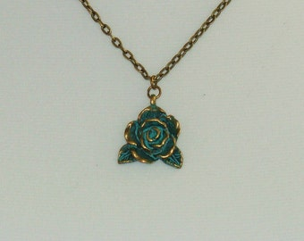 Antique Bronze Rose Necklace