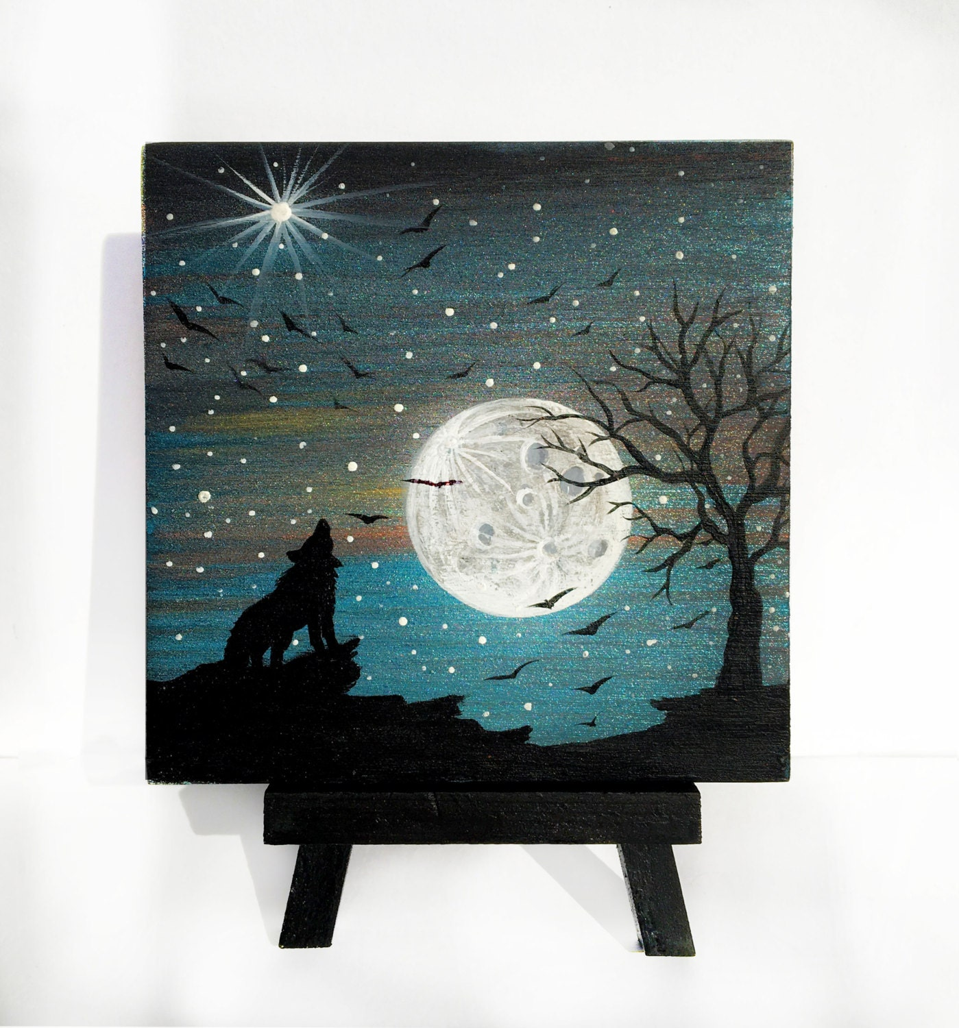 wolf howling at the moon night silhouette miniature miniature