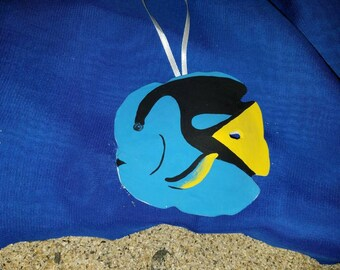 Blue Tang Hand Painted Tropical fish sand dollar