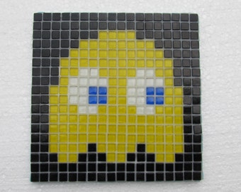 Original Pacman mosaic wall art; Pacman ghost; Pokey; Clyde; vintage video game; glass mosaic; pixel wall art.