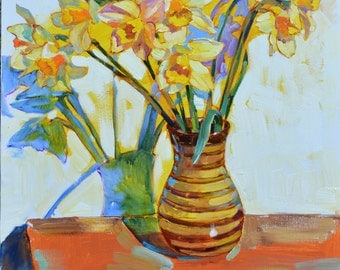 Daffodils Oil painting, Floral wall art Still life daffodils Modern artwork flowers bouquet Wall decor Floral art daffodils, Flower painting