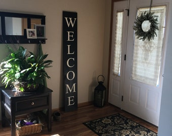 Welcome/ Welcome Sign/ Sign for Entry/ Large Wood Sign/ Porch Decor/ Outdoor Decor/ Rustic Decor/ Farmhouse sign/ Welcome Stencil