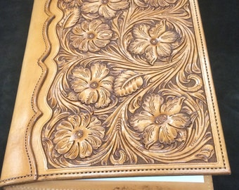 Large Hand-tooled Cowhide Floral Portfolio / Notebook Cover