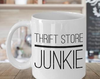 Thrifting Mug - Thrift Store Junkie Coffee Mug - Boho Gifts - Vintage Style Coffee Mugs - Boho Chic Decor - Retro Coffee Mugs - Gone Junkin'