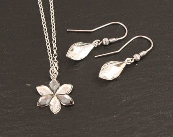 925 Silver jewelry with flower, necklace, earrings, Swarovski, Dirndl, bridesmaids, wedding, Bridal, Bridal jewelry