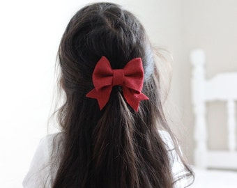 Large Cranberry Felt Bow