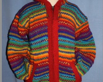 Hand knitted rainbow wool jacket
