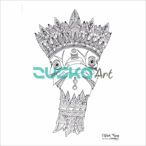 Ostrich King adult coloring page | Adult coloring book on sale | Feathers coloring | Boho coloring page | Hippie coloring page