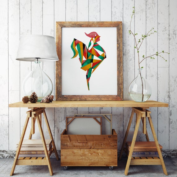 Origami rooster | Wall art | Archival paper poster | Watercolor art | Origami | Wall art decor | ZuskaArt
