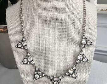 Crystal Triangle Statement Necklace