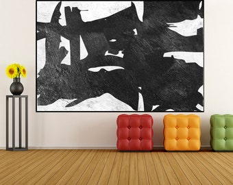 Large Original Acrylic Painting on canvas, Abstract Wall art, black and white canvas painting livingroom decor