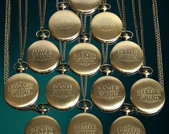 11 Personalized Pocket Watches - 11 Groomsman engraved gifts - Usher & Officiant gifts - Best Man - Father of the Bride - Personalized gifts