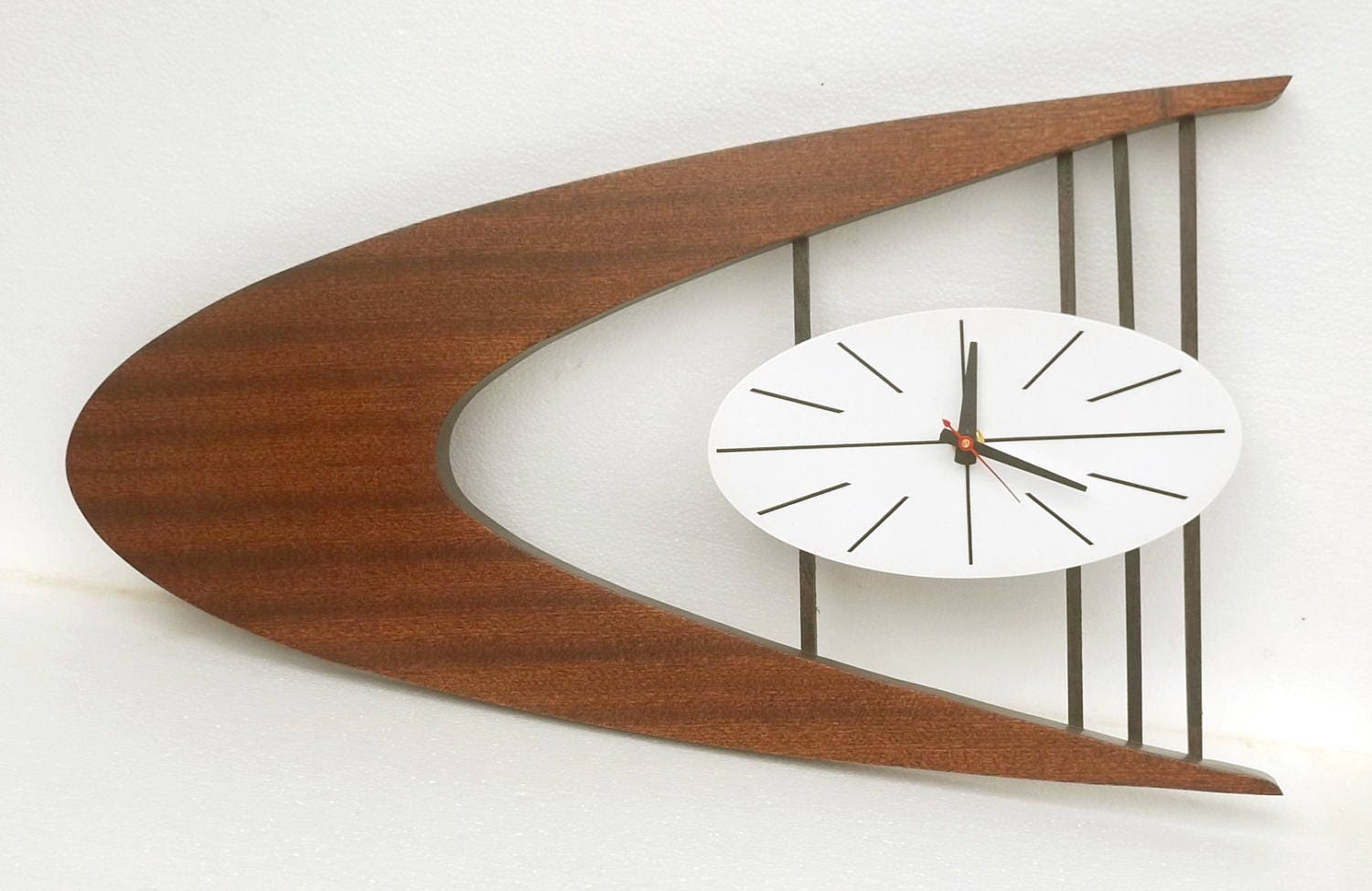 mid century danish modern boomerang wall clock belart style. Black Bedroom Furniture Sets. Home Design Ideas