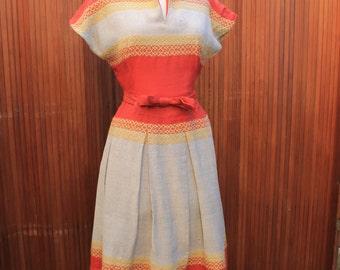 dress vintage 1950 50s fifties wool wool retro swing dress circle skirt