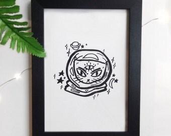 Cosmonaut Cat A5 Art Print