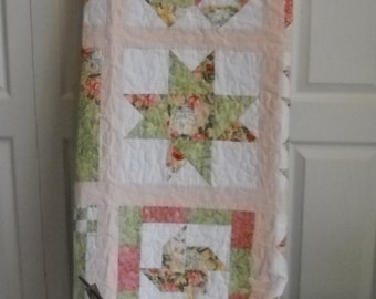 Pastel soft colors, Lap Quilt, Twin Bed Quilt, Coverlet, Wall Hanging, Dorm Room Quilt, Handmade Quilt, Sunroom Quilt, Porch Quilt