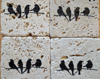 Birds On a  Wire Coasters, set of 4, Rustic, Natural Chairo stone