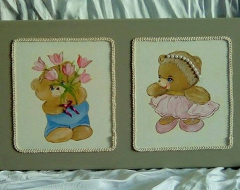 canvas acrylic child bears painted by hand