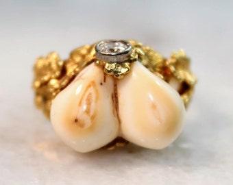 Vintage Grandeln Deer Tooth 14k Gold Ring
