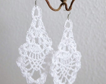 White crochet earrings (crochet jewelry, earrings, earrings)