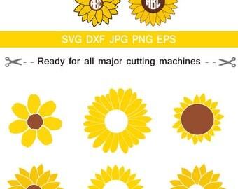 Sunflower SVG, Sunflower Monogram SVG, SVG Files, Flower Monogram Svg, for CriCut Silhouette cameo Files svg jpg png dxf