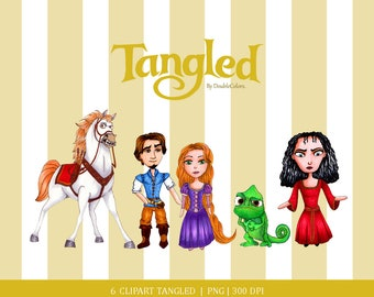 Digital clipart set, Tangled clipart. Princess clipart. Hand made. copic drawing