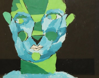 Mixed media portrait on paper under glass, bright blues & greens, expressionism - The Ex