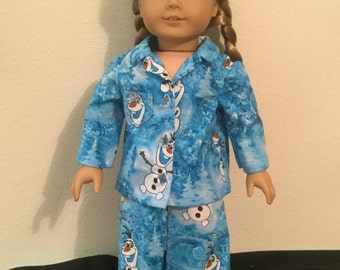 18 Inch Doll Clothes - Olaf Print Pajamas
