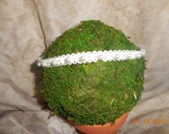 Halo Headband, Baby headband, Photo Prop, Lace pearl headband, Newborn headband, Baby girl headband