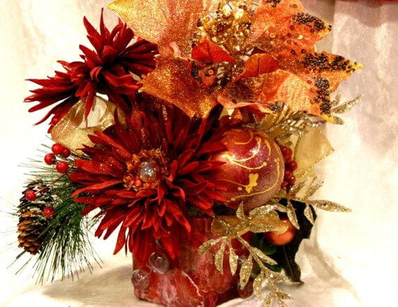 """Christmas Fabulosity Cube #2 Gold & Red Christmas Silk Floral Arrangement in 3"""" Hand Painted and Marbleized Square Glass Base"""