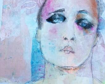 original pastels portrait mixed media portrait woman home decor art