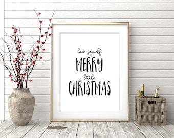 Merry Little Christmas, Holiday Printable, Typography Wall Art, Monochrome Home Decor
