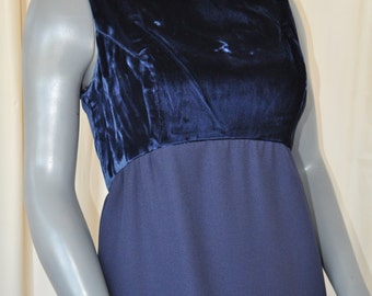 Vintage 90's Blue Velvet Bodice Maxi Formal Party Dress by Jim Hjelm Collections Size Small