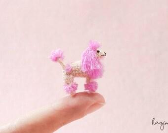 EXTREME MICRO DOG - Tiny Pink Poodle dog, Miniature crochet Poodle, tiny amigurumi dog,