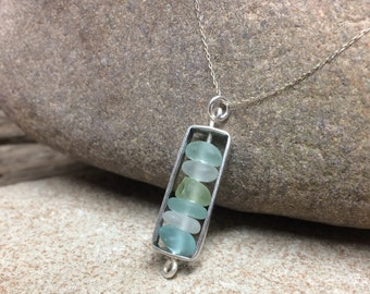 Sterling Silver and Beach Glass Pendant Necklace