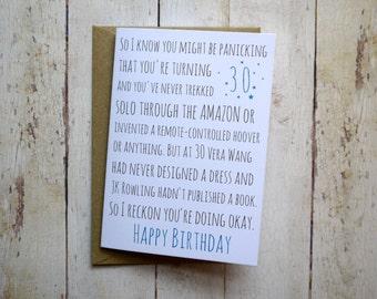 30th Birthday card // Awkward birthday card // Funny 30th Birthday Card // Thirtieth Birthday card //