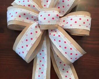 Pink Polka Dot and Burlap Bow