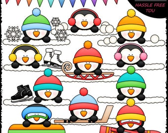 Winter Penguin Toppers Clip Art and B&W Set