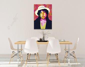 Tribute to Bob Dylan  FRAMED ART, personalized gift, name, pop art, Wall Art, gift for women, gift for men