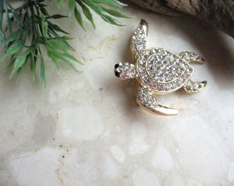 Sea turtle brooch, rhinstones turtle pin brooch, marine creature