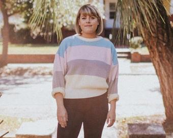 Vintage Pastel Striped Sweater