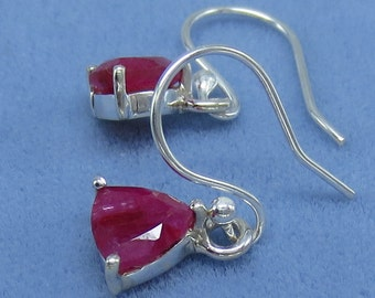 7mm Natural Ruby Earrings - Hooks or Leverbacks - Trillion Cut - Sterling Silver - 6mm Also Available - 201103 - Free Ship to USA