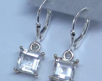 7x7mm Natural White Topaz Square Cut Leverback Earrings - Sterling Silver - Fancy-Dancy Jewelry - 211556