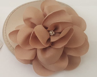 Champagne satin cap fascinator