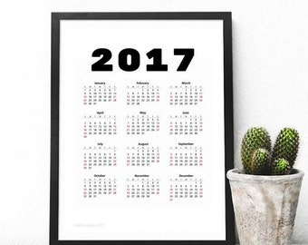 Printable 2017 Wall Calendar, 8.5x11 in, Desk Cakendar, Instant Download, Black and White Calendar, Printable