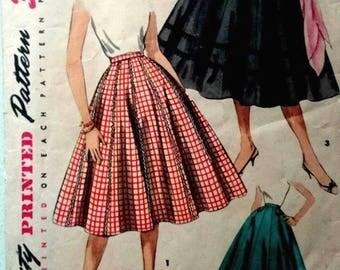 "Vintage 1950's Sewing Pattern Rockabilly Flared Full Skirt Jive Swing Waist 26"""
