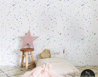 Paint splatter wallpaper, Colorful wall mural for kids room, Pale colors, Self adhesive, Reusable, Removable wall decal #107