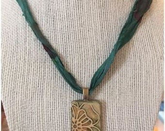 Polymer Flower Pendant on Silk Ribbon